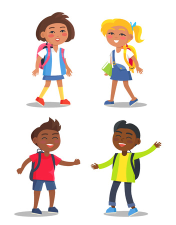 Set of schoolgirls and schoolboys first year pupils with backpacks isolated on white background. Smiling kids in school uniform vector illustrations Foto de archivo - 105603367