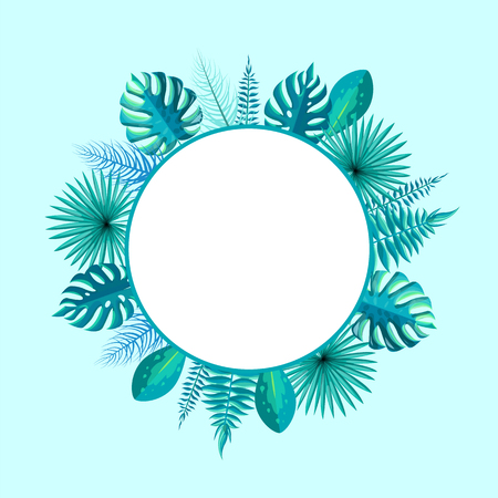 Empty round frame with spare place for text surrounded by tropical palm tree leaves vector illustration wreath with blank circle inside isolated on blue