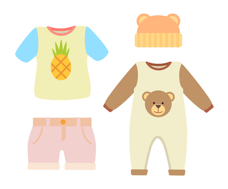 Baby clothes, set of t-shirt with pineapple print and hat with ears, romper with teddy bear and shorts, baby clothes, isolated on vector illustration