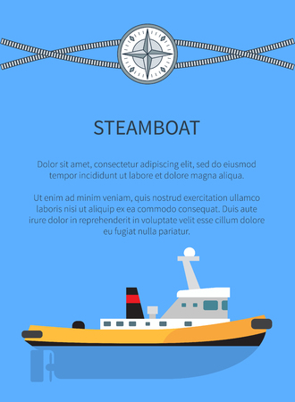 Steamboat poster and text sample, banner with information and headline and image of steamboat, cordage and compass, isolated on vector illustration Иллюстрация
