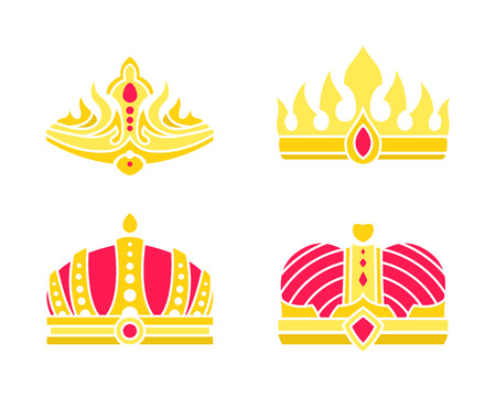 Golden heraldic crowns of standard and unusual design precious stones vector on white. Kings and queens colorful crowns set inlaid with gems vector Illustration