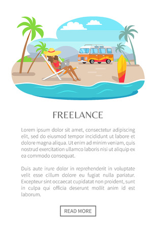 Freelance poster with push button read more, woman in big straw hat resting on chaise longue under striped umbrella at tropical beach, bus trailer vector