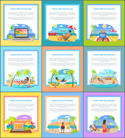 Distant work and freelance commercial banners set. Relax at beach and get money promotional posters. Freelancers work at beach vector illustrations. Stock Illustratie