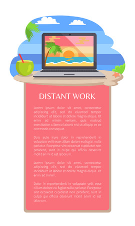 Distant work leaflet poster open notebook picture of tropical sunset at coastline, standing on beach near cocktail vector distant freelance work concept