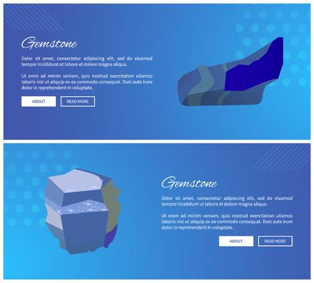 Gemstones lazurite and sapphire precious gemstones, variety of minerals aluminium oxide. Blue gem stones sapphire and lazurite vector posters set