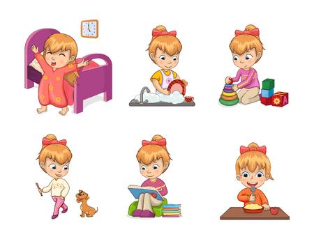 Colección de actividades para niñas, ayudando con las tareas del hogar, jugando y paseando al perro, estudiando y comiendo, actividades de niña aislada en la ilustración vectorial