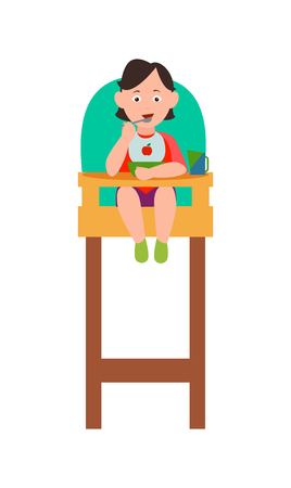 Infant child eating from bowl by spoon in baby chair vector illustration isolated on white background, happy childhood concept, toddler has meal