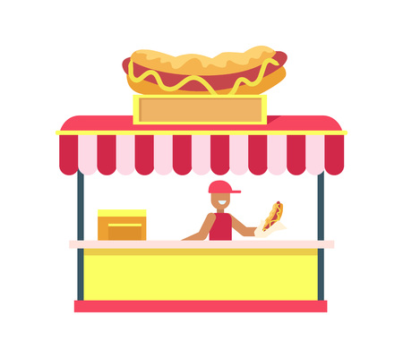 Hot-dog stand, colorful card vector illustration isolated on white backdrop cute shop with big hot-dog layout on top, cheerful salesman, striped cover
