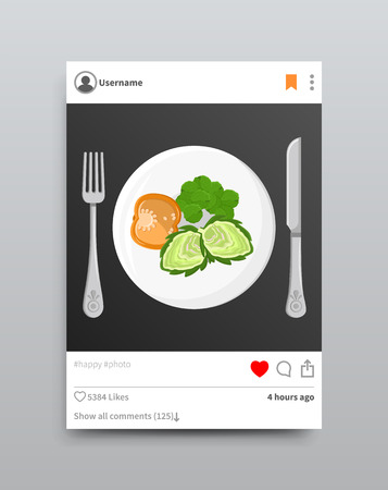Dish Posted on Instagram, Vector Illustration