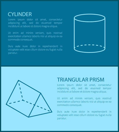 Cylinder and triangular prism, collection of posters with shapes and text samples, letterings and cylinder with prism, isolated on vector illustration