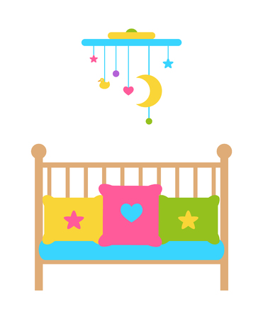 Crib young child s bed with barred or latticed sides, moving mobile over cradle, color pillows or couches with heart and stars vector illustration