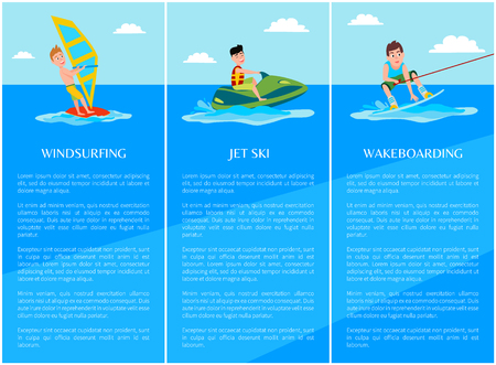 Windsurfing and wakeboarding, water sport jet ski collection of posters with text sample and lettering, water sport isolated on vector illustration