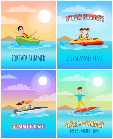 Forever summertime collection, sun and great weather, poster with titles and donut ride, surfing and boating, banana boat summer vector illustration