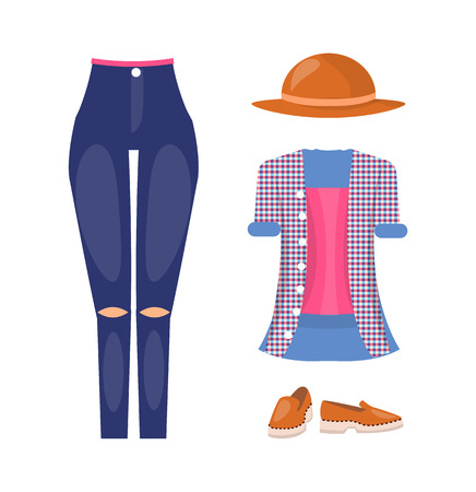 Stylish female casual summer outfit with brown hat. Jeans with ripped knees, checkered shirt and leather shoes isolated cartoon vector illustration.