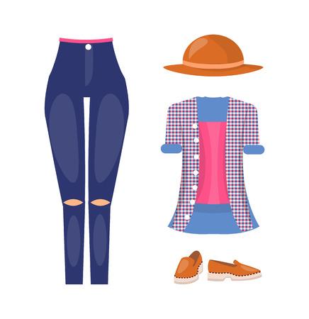 Tenue d'été décontractée féminine élégante avec un chapeau marron. Jeans avec genoux déchirés, chemise à carreaux et chaussures en cuir isolé illustration vectorielle de dessin animé.