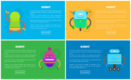 Mechanical robots with funny faces promo posters. Mechanical human helpers set. Automatic robots on Internet pages templates vector illustrations.