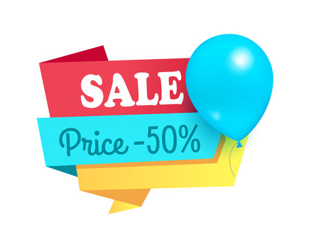 Super Price 50 Discount Sale Tag Balloons Label Illustration