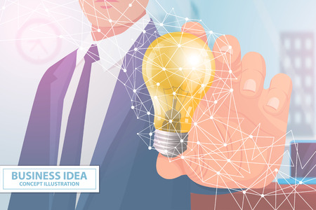 Business idea concept illustration with man and lightbulb. Man holds light bulb as symbol of perfect idea for business project vector illustration. Illustration