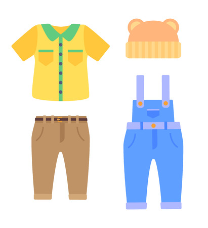 Baby clothes collection for boys in toddlers age. Bright shirt, classic pants, denim overalls and cute hat with bear ears vector illustrations set.