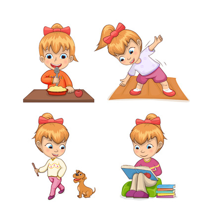 Girl collection of activities, eating breakfast and doing exercise, walking dog and reading books, girl and life vector illustration isolated on white