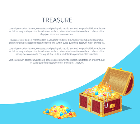 Treasure poster precious treasures in heavy chest. Medieval money hidden in containers vector. Shiny gold ancient coins in old open wooden chests. Ilustração