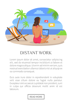 Distant work poster with push button read more, woman back view sitting on sand near empty chaise longue and sending mails, vector at coastline seashore Illustration