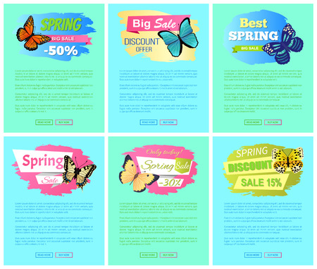 Sale spring discount labels on online poster butterflies with dots, ornaments and antenna, morpho springtime creatures vector promo label sale concept Stock Vector - 105603409