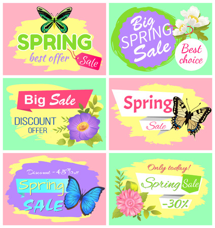Big Spring Sale Collection Vector Illustration