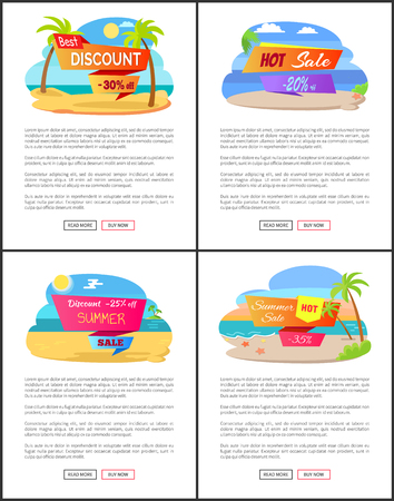 Hot summer sale with discount up to 35 promo set. Golden beaches on banners with summer sale. Great discount only for summer vector illustrations. Illustration