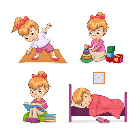Active lifestyle of girl set of activities, stretching playing games reading and sleeping, active lifestyle collection isolated on vector illustration