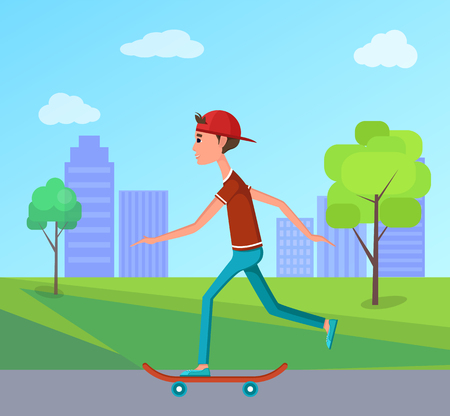 Side view skateboarder riding in city park on skateboard, go skateboarding day vector illustration male teenager on background of skyscrapers, urban city Illustration