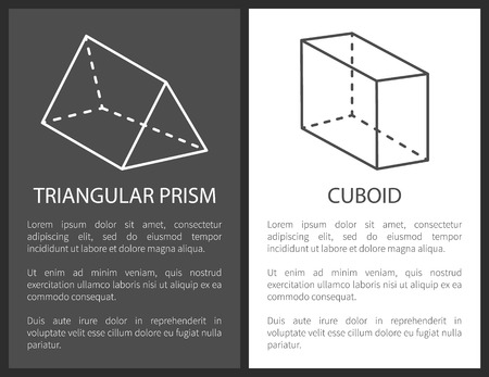 Triangular prism and cuboid geometric shapes simple figures sketches made from lines and dashes, prism and cuboid projections vector illustrations set