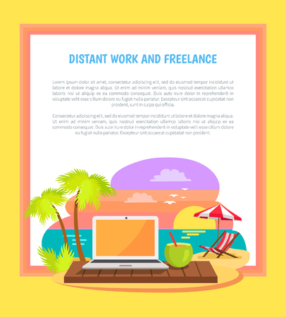 Distant work and freelance poster open notebook on tropical beach with empty screen, summer cocktail with straw, sun-bed under umbrella, summertime