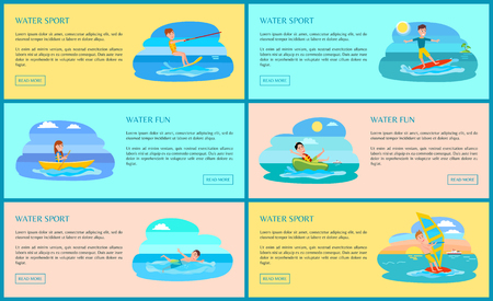 Water sport and fun collection of web pages with text sample and buttons, kitesurfing and boating swimming and surfing isolated on vector illustration