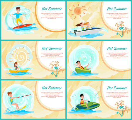 Hot summer collection poster, summer sports set and text sample, surfing and boating, kitesurfing and jet ski, vector illustration isolated on orange
