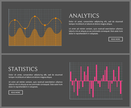 Analytics and statistics data on Internet pages templates. Bright graphics with bars and waves. Graphic to display information vector illustration.