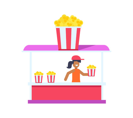 Pretty popcorn shop, color card isolated on bright backdrop, cheerful saleswoman holding popcorn packet with red and white stripes, colorful shop Illustration