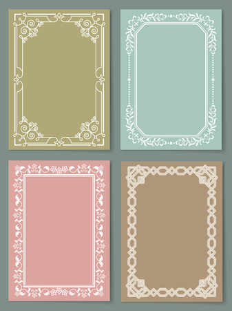 Set of vintage frames decorative border with corners, leaves and curved elements in black and white colors, retro border isolated photo frame Illustration