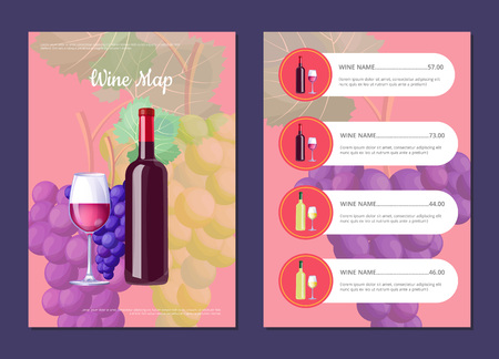 Wine map with full bottle on cover and price list. Delicious low alcohol drink menu. Bottle of red wine and clusters of grapes vector illustration.