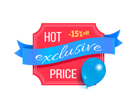 Hot price exclusive best 15 discount promo label design decorated by flying blue balloon, helium air balloon on sale sticker vector illustation