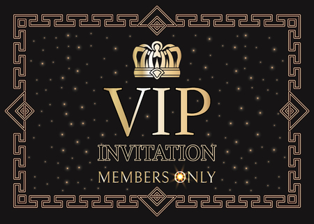 VIP invitation for members only with gold crown and elegant frame. Pass for private party with shiny crown. Exclusive invitation vector illustration.