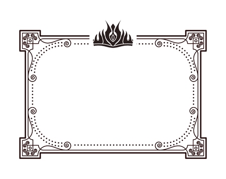 Frame for important documents and certificates with crown. Rectangular framework decorated with crown in gothic style monochrome vector illustration.