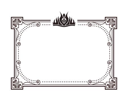Marco para documentos importantes y certificados con corona. Marco rectangular decorado con corona en la ilustración de vector monocromo de estilo gótico. Ilustración de vector
