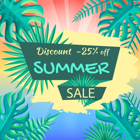 Discount 25 off summer sale poster. Advertisement about summer sale tropical view. Discount summer background with palm leaves vector illustration