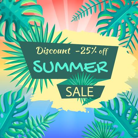 Sconto di 25 sul poster di vendita estiva. Pubblicità sulla vista tropicale di vendita estiva. Sconto estate sfondo con foglie di palma illustrazione vettoriale