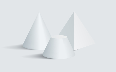 Cone pentagonal prism and blunted cone 3D geometric white shapes isolated. Three dimensional blunted cone with pentagonal prism vector illustrations