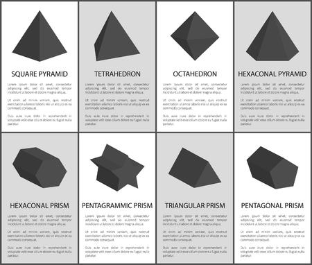 Conjunto de prismas negros de octaedro y pirámide cuadrada Ilustración de vector