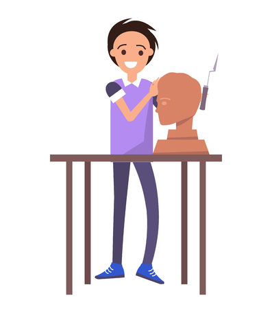 Happy potter working with male bust sculpture, vector illustration, white background, table workplace, clay modeling tool, pottery art, male head Stock Illustratie