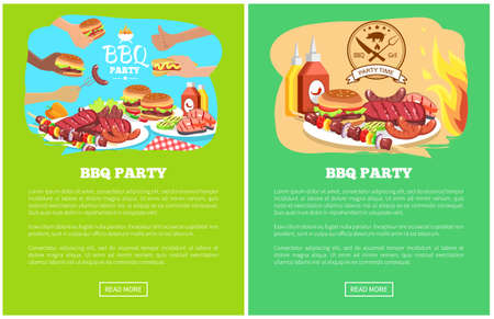 BBQ party two colorful posters, vector illustration text sample, push buttons, grill vegetable, pork and fish steaks, meat dishes, burgers and hot-dog