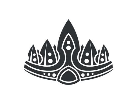 Crown with ornaments closeup crown with sharp lines designed for royalty silhouette colorless image vector illustration isolated on white background Illustration